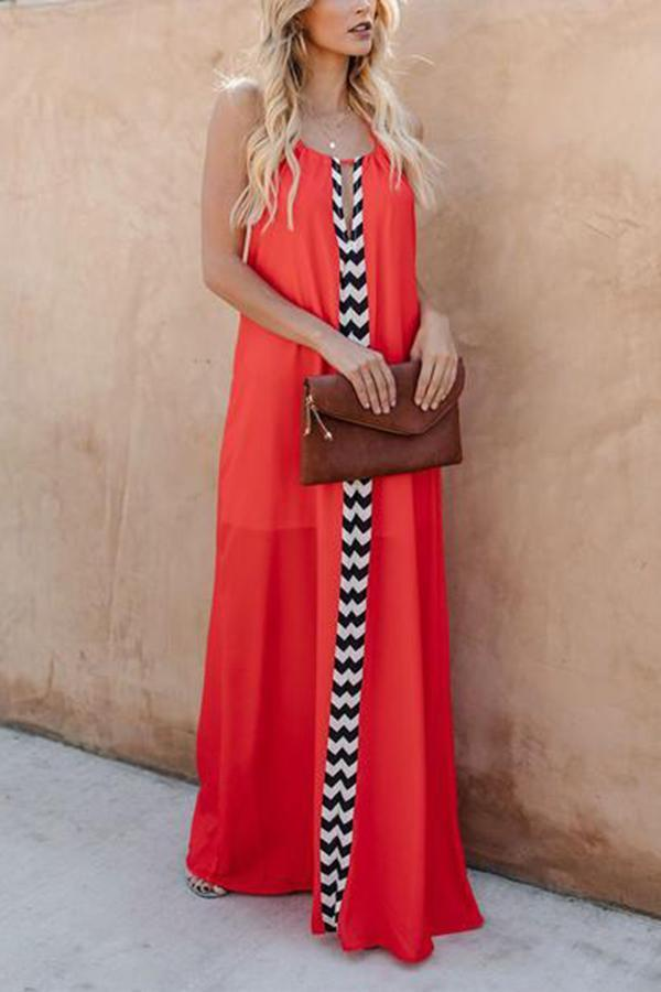 Fashion Deep V Bare Back Halter Maxi Dresses Red s