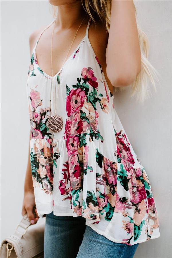 Fashion Sexy Printed   Loose Vest White s