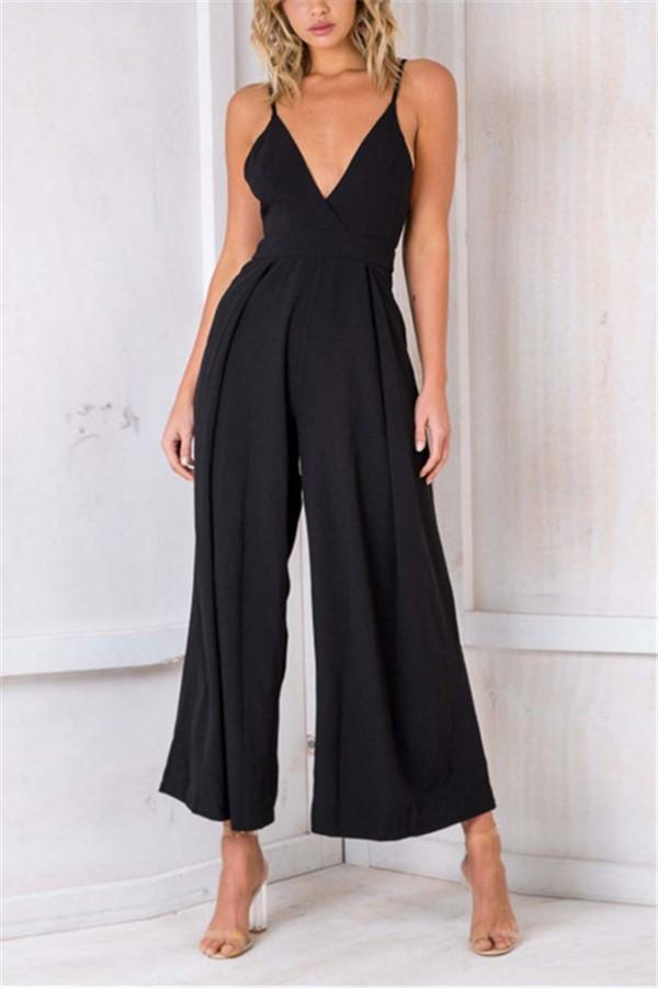 Casual Show Thin Sexy   V Neck Sling Wide Leg Jumpsuit Black s