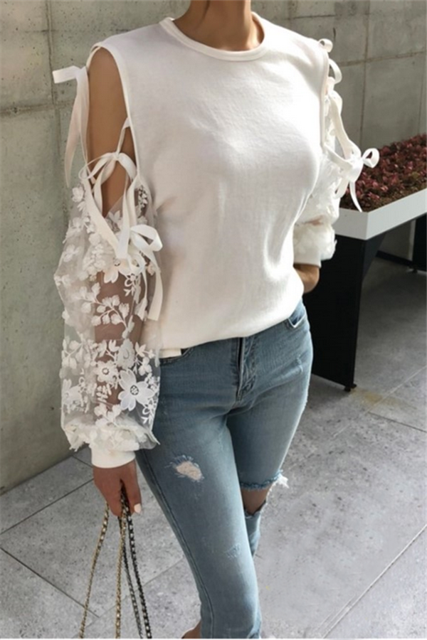 Casual Sexy Lace   Stitching Long Sleeves Hoodie Blouse White one size