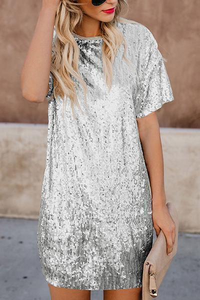 Sequined Splicing Short-Sleeved Shift Dress Silver s