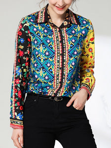 Vintage Printed Colour Turndown Collar Shirt Detail l