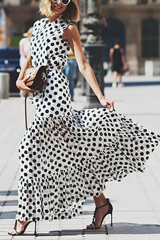 Women's Fashion Sleeveless Polka Dot Splicing Ruched Dress