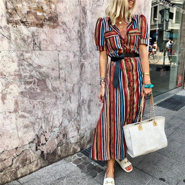 Fashion Striped Short Sleeves Casual Dresses
