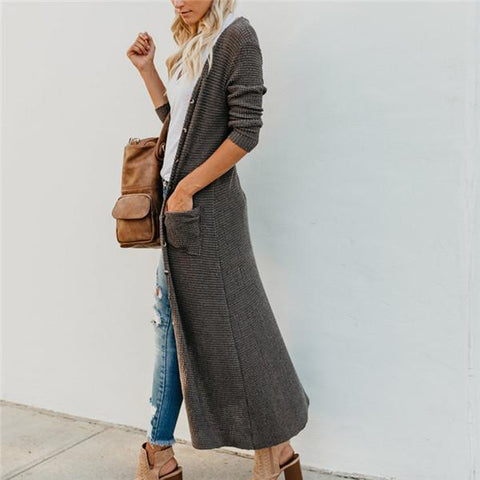 Image of New solid color button big pocket casual long style cardigan coat Gray l