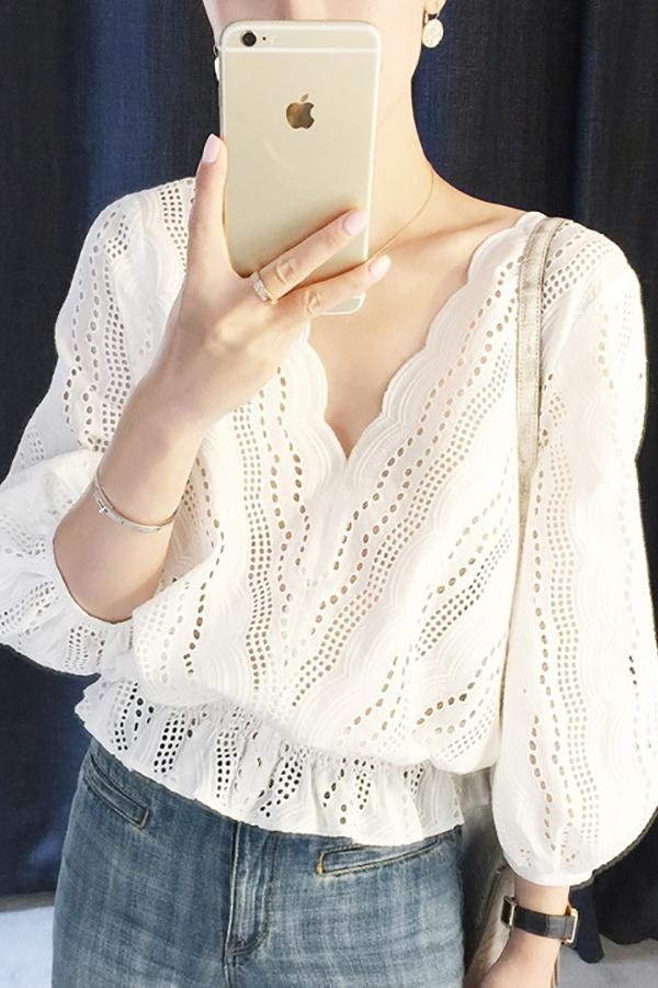 Fashion V Neck  Hollow Out Shirt Blouse White s