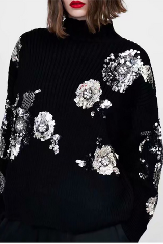 Fashion Bead Piece Floral Pattern Knitted Sweater Black s