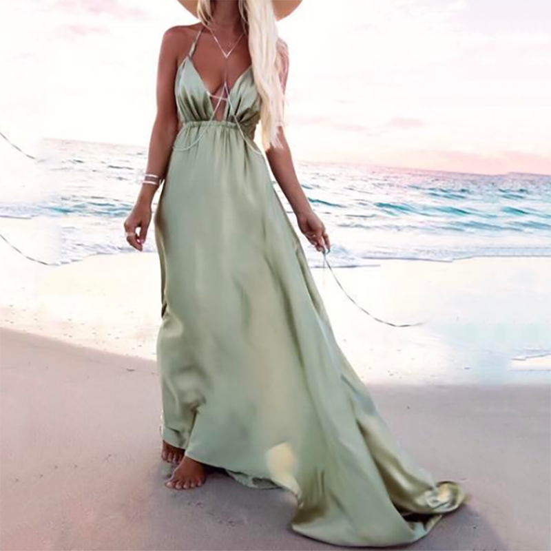 Halter Halter V-Neck Bohemian Maxi Dress
