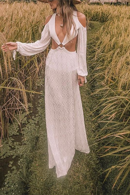 Sexy Vacation Deep V-Neck Off Shoulder Hollow Long Sleeve Maxi Dress