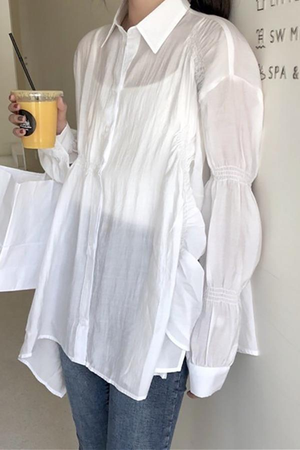 Fashion Long Sleeve   Loose Pure Color Sunscreen Shirt White one size
