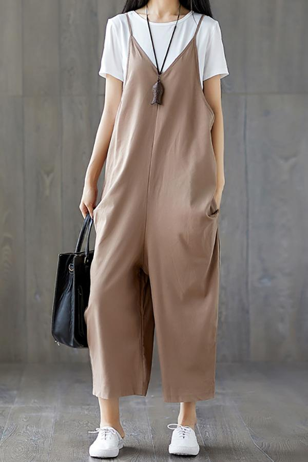 Casual Show Thin Pure   Color  Wide Leg Jumpsuit Khaki m