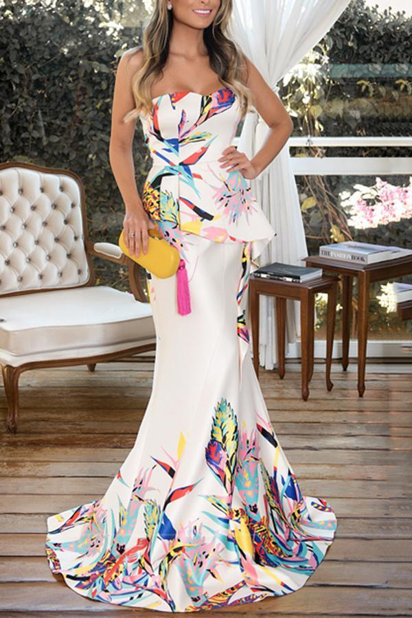 Fashion Floral Plunge Ruffles Layered Hem Fishtail Maxi Evening Dress same_as_photo s