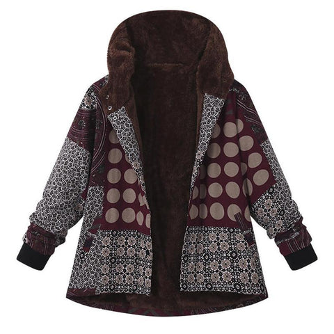 Image of Casual Plaid Print Hooded Jacket Red xl