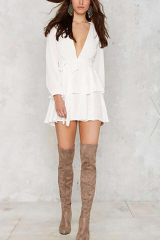 Image of Casual Long Sleeve Sexy V Neck Mini Dresses White s