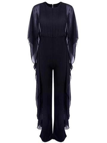 Wide-leg Pants Chiffon Spliced Jumpsuit BLACK M
