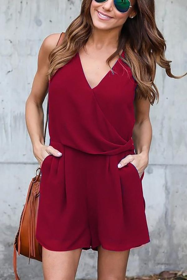 Fashion Pure Color Slim Show Thin V Collar Chiffon Jumpsuit Red s