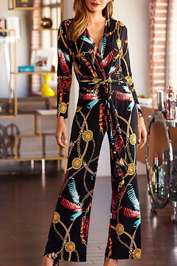 Fashion Printed Colour V Neck Long Sleeve Jumpsuits Multi s