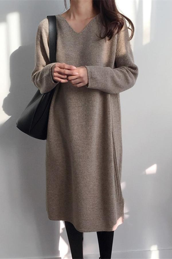 Fashion V Collar Long Sleeve Flattering Knitted Maxi Dress Same As Photo one size