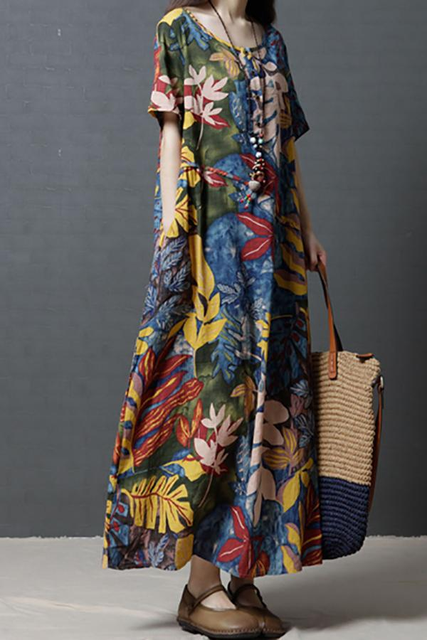 Casual Loose Big Size   Show Thin Floral Print Maxi Dresses Blue m