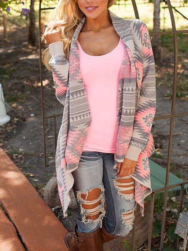 Printed Knitting Sweater Cardigans Tops PINK S