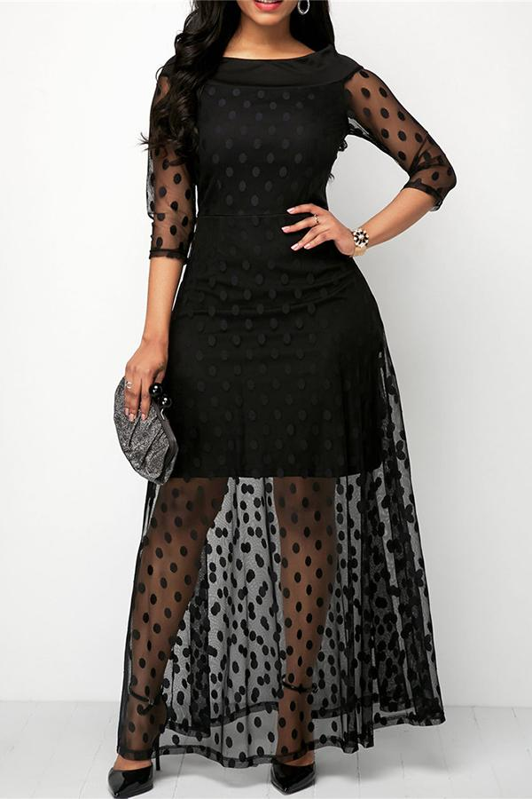 Fashion Spliced Wave Point Yarn Mesh Dresses Black s