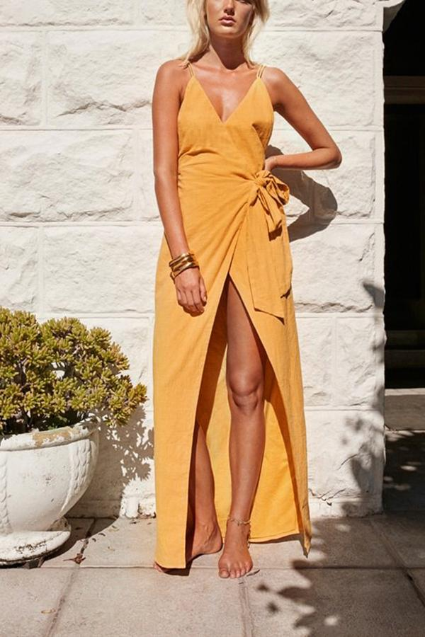 Casual Sexy V Neck   Backless Sling Maxi Dresses Yellow s