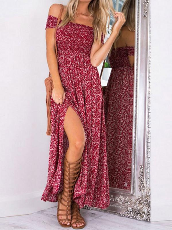 Beautiful Polka-dot Off Shoulder Side Split Maxi Dress RED S(Bust33 Waist26.7 Length45.2)