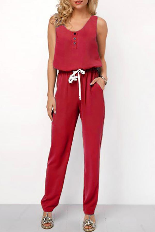 Fashion Pure Color Slim Show Thin Sleeveless Frenulum Jumpsuit Red s
