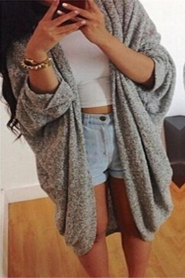 Casual Loose Bat   Sleeve Cardigan Knitted Coat Gray s