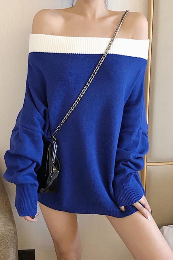 Fashion Sexy Off The Shoulder Knit Sweater Blouse Blue one size