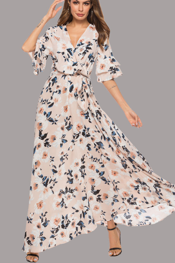 3bea3de9af5 Hover to zoom · Sexy Short Sleeves Floral Print Vacation Maxi Dress