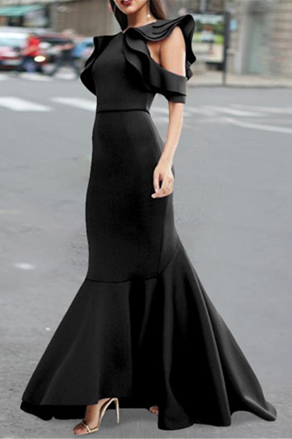 Sexy Open Shouldered Fishtail Dress Black s