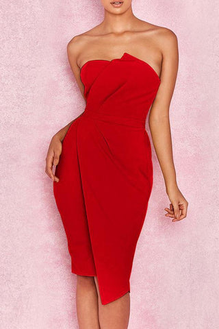 Image of Off Shoulder  Plain Bodycon Dress red s
