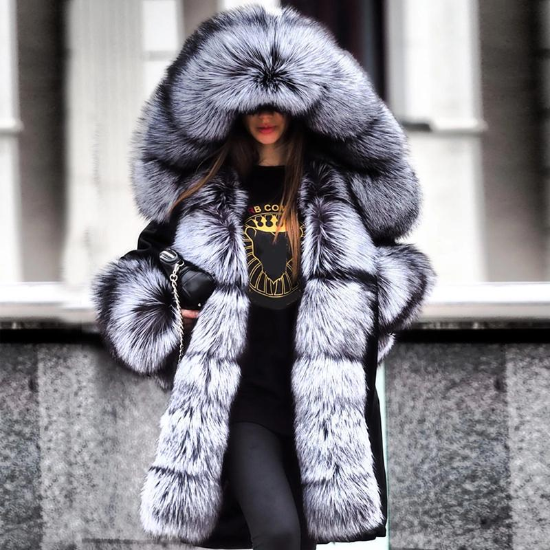 Fashion Long Sleeve Feather Splicing Overcoat Faux Fur Hooded Coat