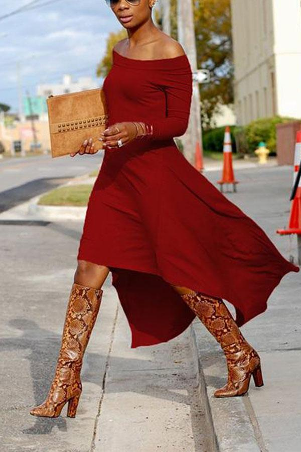 Casual Sexy Boat Neck   Long Sleeve Pure Color  Maxi Dress Claret s