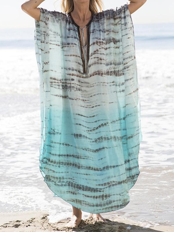 Plus Size Loose Printed Beach Cover-ups SAME AS PICTURE LARGE SIZE