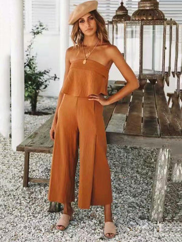 Image of Joygos Off Shoulder Solid Falbala Bohemia Jumpsuits