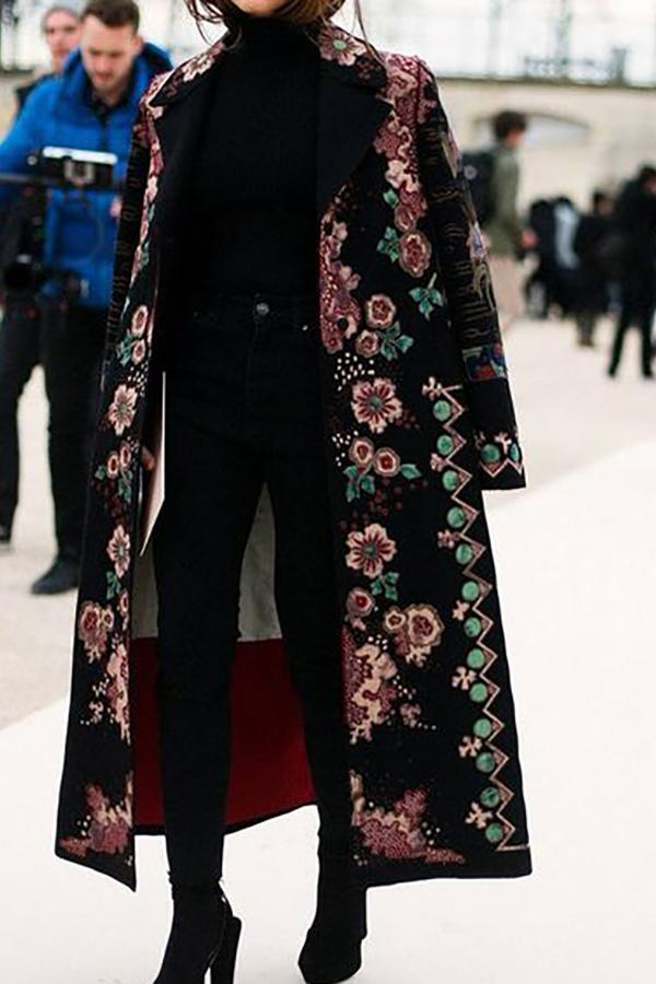 Chic Lapel Collar Pink Flower Printed Long Coat Same As Photo m