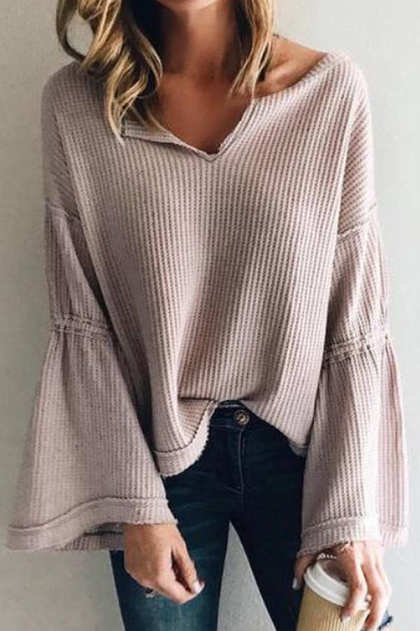 Flared Sleeve V-Neck Knit Top Same As Photo s