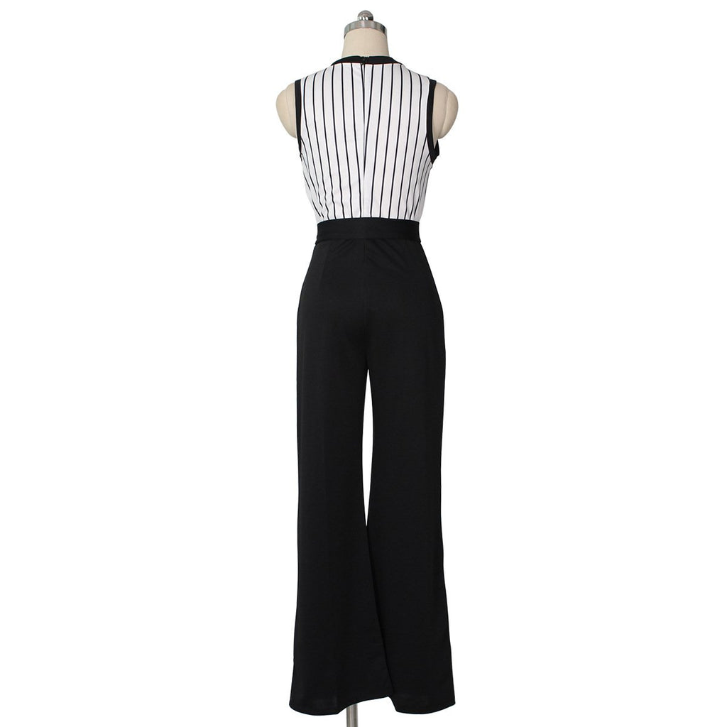Striped Printed   Sleeveless Wide-Leg Jumpsuit Black xl