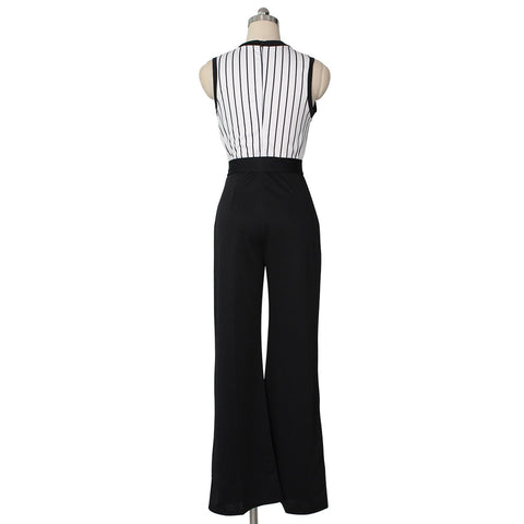 Image of Striped Printed   Sleeveless Wide-Leg Jumpsuit Black xl