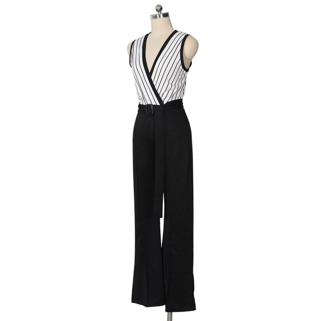 Striped Printed   Sleeveless Wide-Leg Jumpsuit Black 2xl