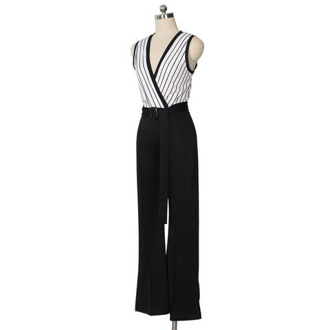 Image of Striped Printed   Sleeveless Wide-Leg Jumpsuit Black 2xl