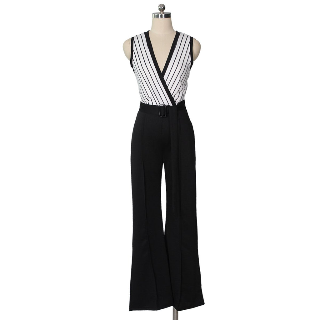 Striped Printed   Sleeveless Wide-Leg Jumpsuit Black l