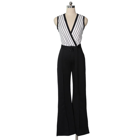 Image of Striped Printed   Sleeveless Wide-Leg Jumpsuit Black l