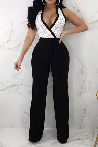 Image of Striped Printed   Sleeveless Wide-Leg Jumpsuit Black s