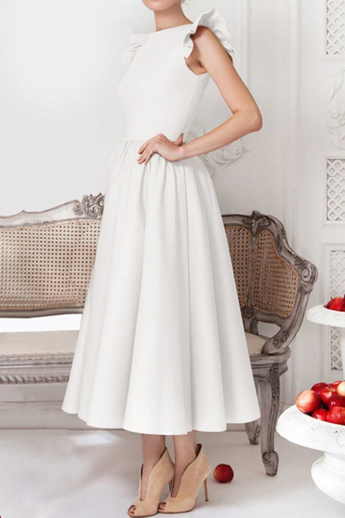 Round Neck Flounce Plain Evening Dress white s