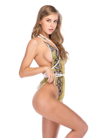 Image of Joygos Sexy Snake Skin Bandage One Piece Swimwear