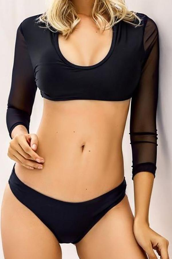 Sexy Bikini Solid Color Long Sleeve Split Swimsuit Black s