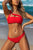 Vacation Sandbeach   Sexy Swimsuits With Steel Ring Bikini Red s